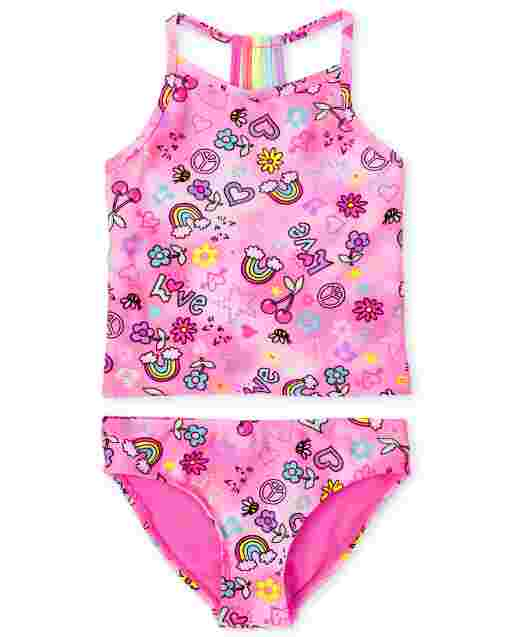 Girls Sleeveless Emoji Print Tie Dye Tankini Swimsuit