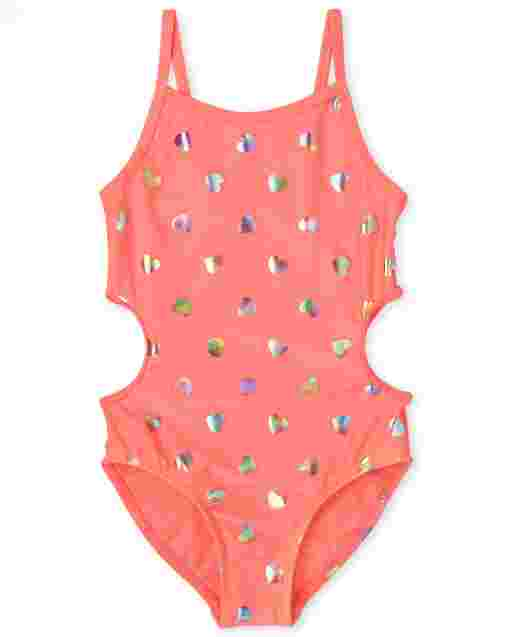 Girls Foil Hearts Print Cut Out One Piece Swimsuit