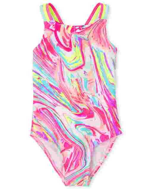 Girls Sleeveless Marble Print One Piece Swimsuit