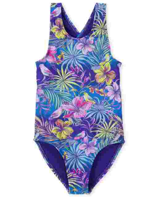 Girls Sleeveless Tropical Floral Print One Piece Swimsuit