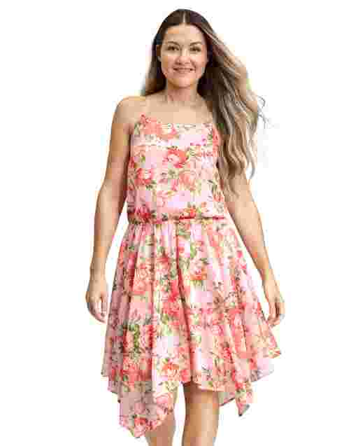 Womens Mommy And Me Sleeveless Floral Print Woven Sharkbite Hem Dress