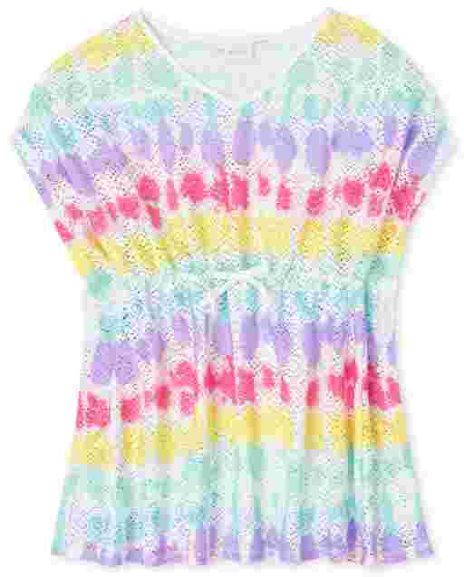 Girls Short Sleeve Rainbow Tie Dye Lace Cover Up