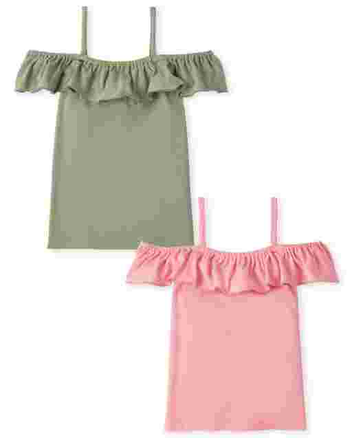 Girls Mix And Match Short Sleeve Ruffle Off Shoulder Top 2-Pack