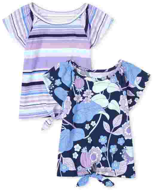 Girls Mix And Match Short Sleeve Striped And Floral Print Tie Front Top 2-Pack