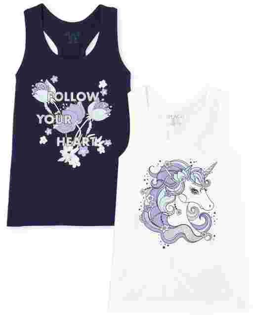 Girls Mix And Match Sleeveless 'Follow Your Heart' And Unicorn Racerback Tank Top 2-Pack