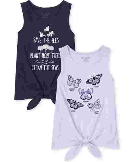 Girls Mix And Match Sleeveless Nature Tie Front Tank Top 2-Pack