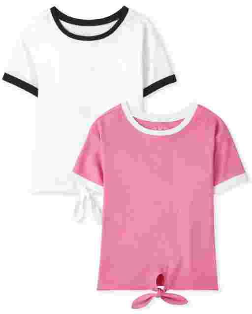 Girls Mix And Match Short Sleeve Tie Front Top 2-Pack