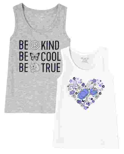 Girls Mix And Match Sleeveless Graphic Racerback Tank Top 2-Pack