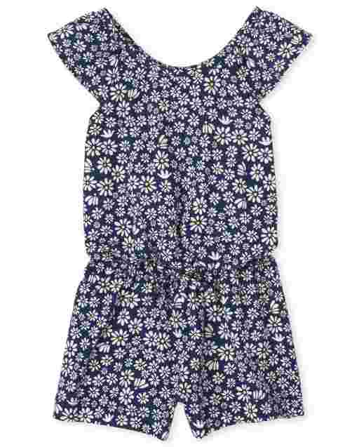Baby And Toddler Girls Short Sleeve Floral Print Knit Ruffle Romper