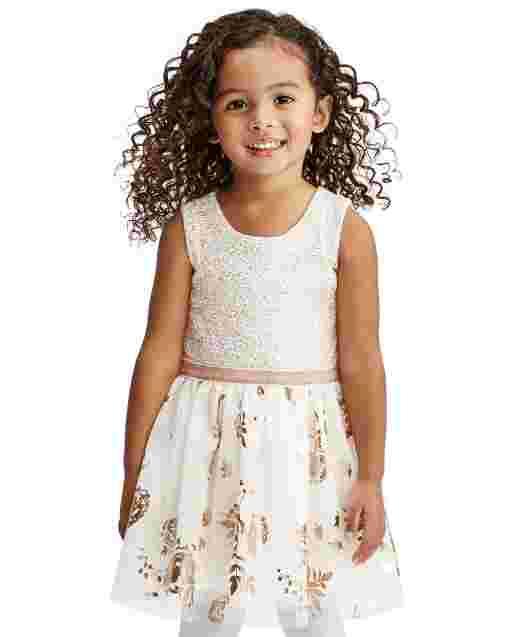 Toddler Girls Easter Sleeveless Foil Rose Gold Print Knit To Woven Dress