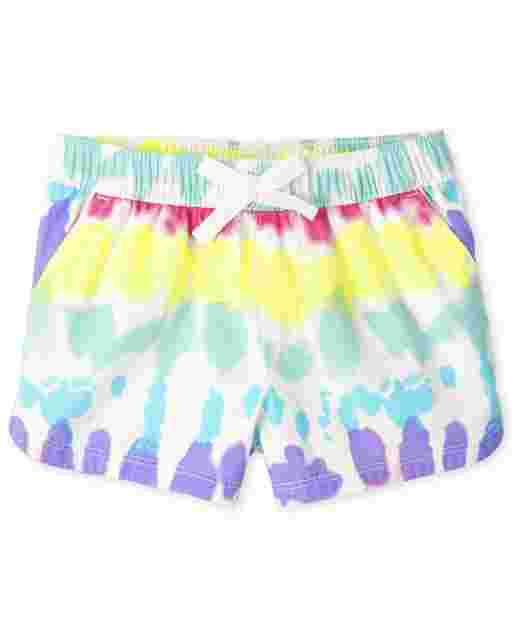 Baby And Toddler Girls Tie Dye Twill Pull On Shorts