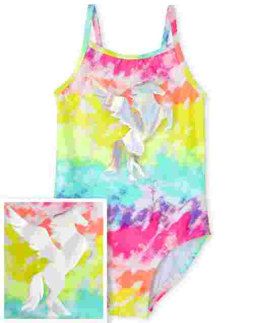 Girls Sleeveless Rainbow Tie Dye Unicorn One Piece Swimsuit