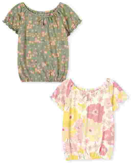 Girls Mix And Match Short Sleeve Floral Print Top 2-Pack