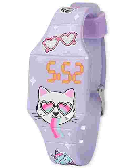 Reloj digital de gato para niñas