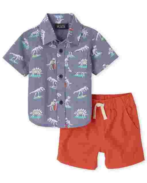Baby Boys Short Sleeve Skateboarding Dino Poplin Button Down Shirt And Woven Jogger Shorts Outfit Set