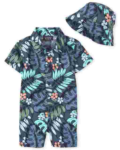 Baby Boys Short Sleeve Tropical Leaf Print Poplin Romper And Bucket Hat Outfit Set