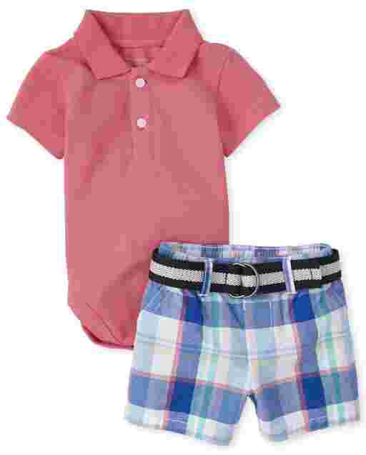 Baby Boys Short Sleeve Pique Polo Bodysuit And Plaid Belted Woven Chino Shorts Outfit Set