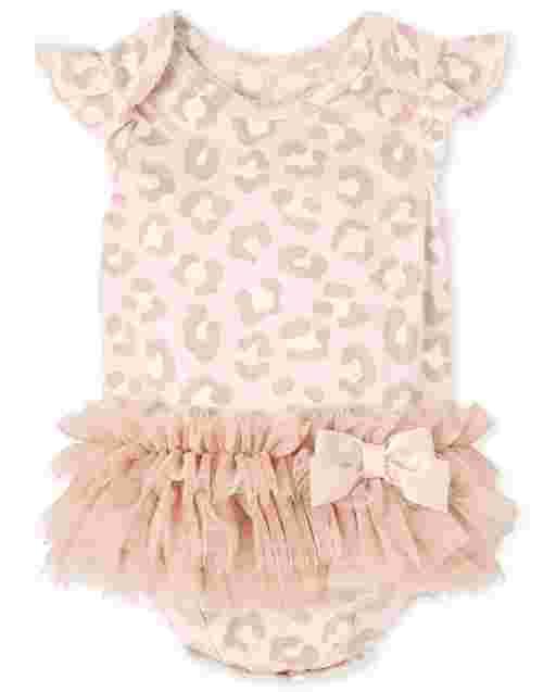 Baby Girls Short Flutter Sleeve Leopard Print Tutu Bodysuit