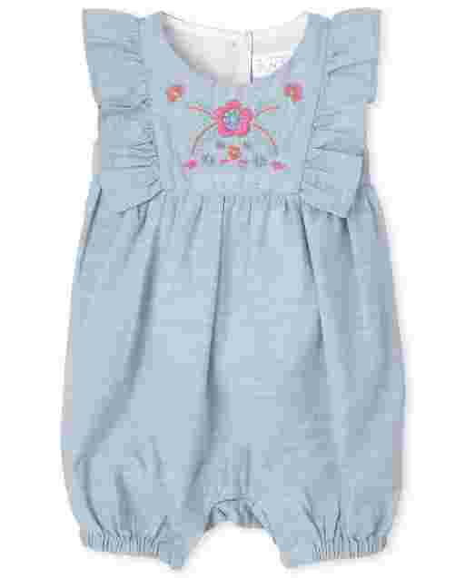 Baby Girls Short Sleeve Embroidered Floral Chambray Ruffle Romper