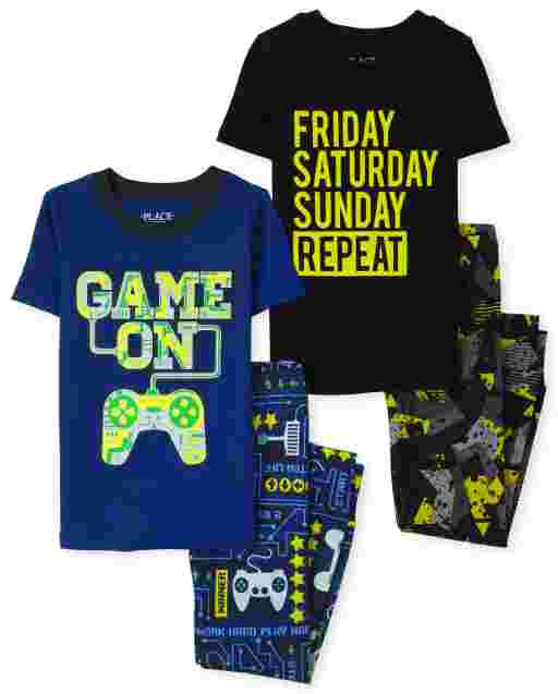 Boys Short Sleeve Glow In The Dark Video Game And Weekend Snug Fit Cotton 4-Piece Pajamas