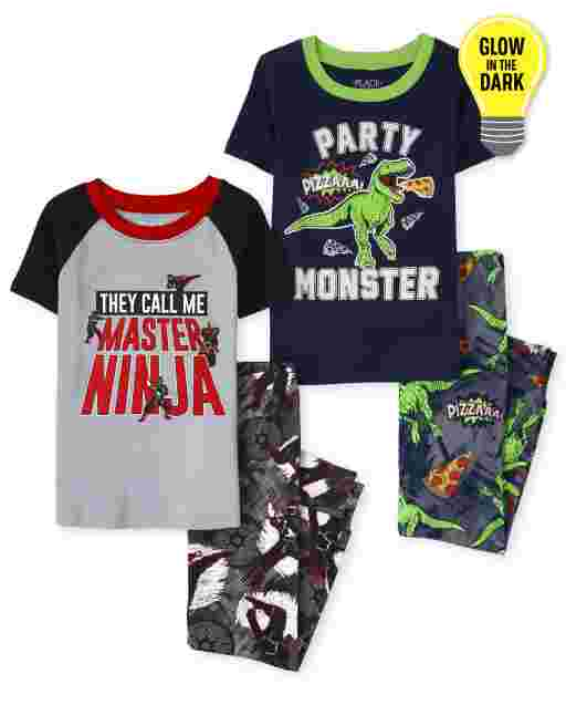 Boys Short Sleeve Glow In The Dark Ninja And Dino Snug Fit Cotton 4-Piece Pajamas