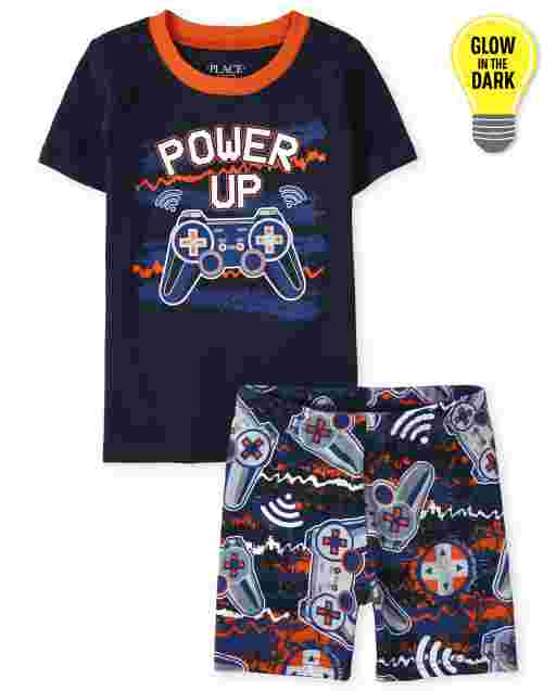 Boys Short Sleeve Glow In The Dark 'Power Up' Video Game Snug Fit Cotton Pajamas