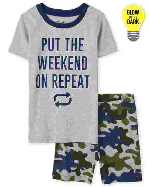 Boys Short Sleeve Glow In The Dark 'Put The Weekend On Repeat' Snug Fit Cotton Pajamas