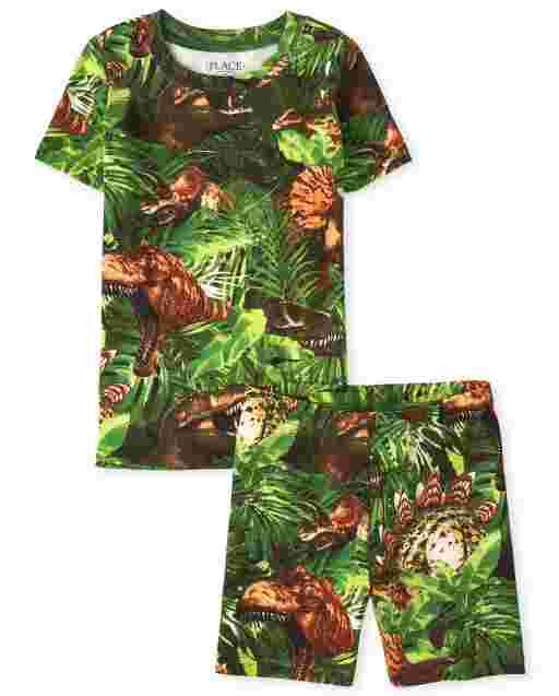 Boys Short Sleeve Dino Jungle Print Snug Fit Cotton Pajamas