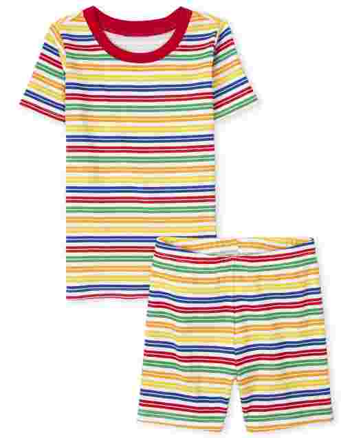 Unisex Kids Matching Family Short Sleeve Striped Matching Snug Fit Cotton Pajamas