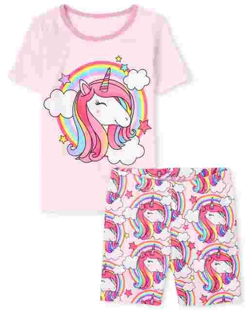 Girls Short Sleeve Rainbow Unicorn Snug Fit Cotton Pajamas