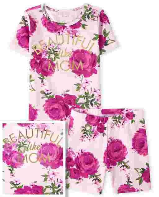 Girls Mommy And Me Short Sleeve 'Beautiful Like Mom' Floral Print Snug Fit Cotton Pajamas