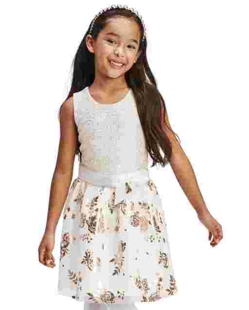 Girls Easter Sleeveless Foil Rose Gold Print Knit To Woven Dress