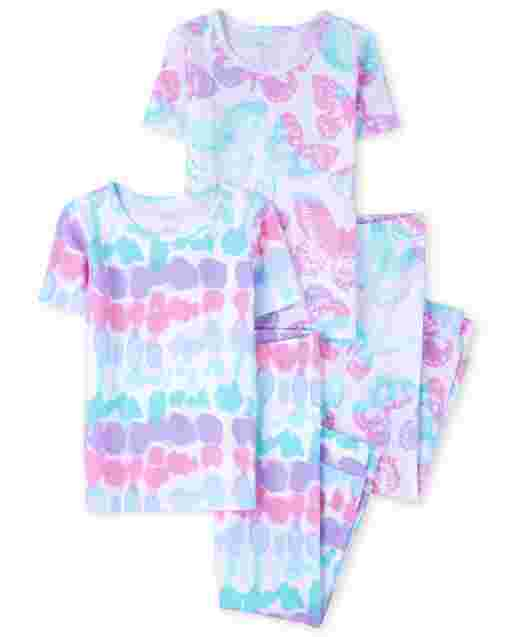 Girls Short Sleeve Tie Dye And Butterfly Print Snug Fit Cotton 4-Piece Pajamas