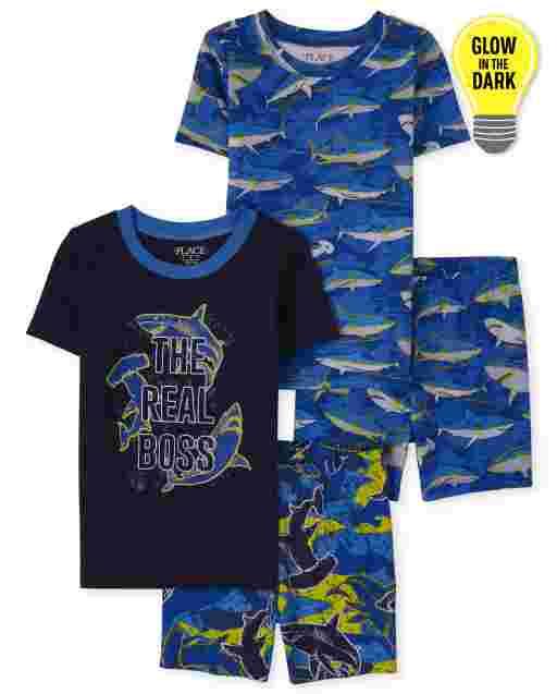 Pijama de 4 piezas de algodón con ajuste ceñido de tiburón que brilla en la oscuridad para niños
