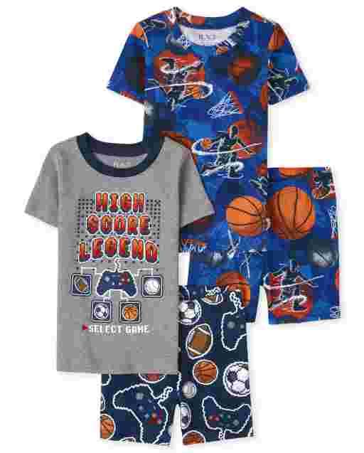 Pijama deportivo de manga corta de algodón con ajuste ceñido para niños de 4 piezas