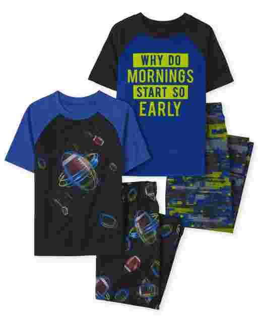 Pijama de 4 piezas de manga corta y fútbol para niños