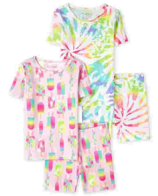 Girls Short Sleeve Tie Dye Snug Fit Cotton Pajamas 2-Pack