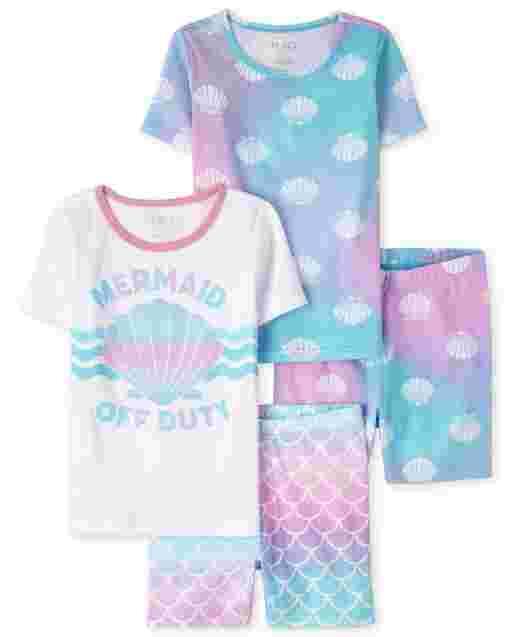 Girls Short Sleeve Mermaid Snug Fit Cotton Pajamas 2-Pack