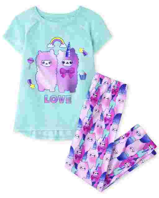 Girls Short Sleeve 'Llama Love' Pajamas