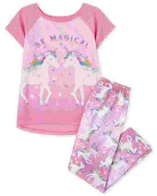 Girls Short Sleeve 'Be Magical' Unicorn Pajamas