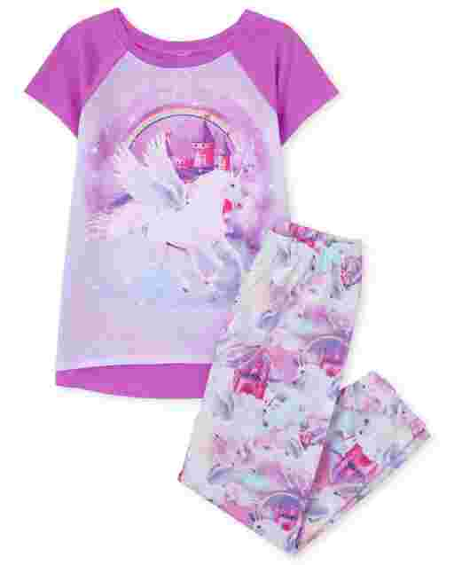 Girls Short Raglan Sleeve Unicorn Pajamas