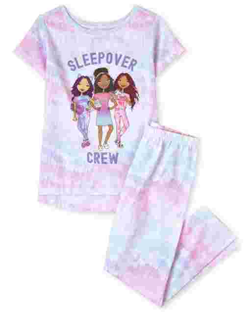 Girls Short Sleeve 'Weekend Crew' Tie Dye Pajamas
