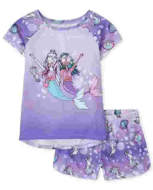 Girls Short Sleeve Mermaid Crew Pajamas