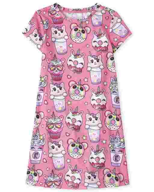Girls Short Sleeve Squishies Print Nightgown
