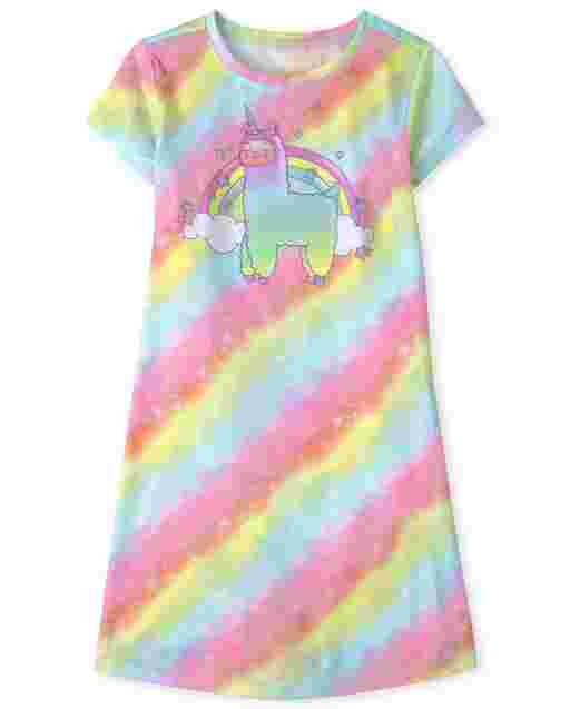 Girls Short Sleeve Rainbow Llamacorn Nightgown