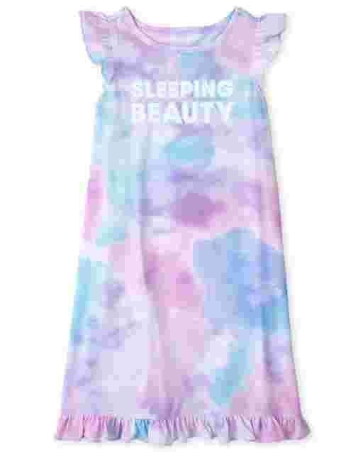 Girls Short Ruffle Sleeve 'Sleeping Beauty' Tie Dye Nightgown