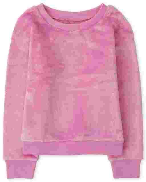 Girls Long Sleeve Cozy Fleece Pajama Top