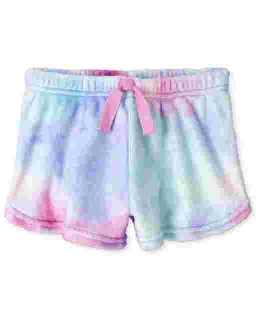 Shorts de pijama de felpa con efecto teñido anudado para niñas