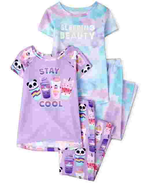 Girls Short Sleeve Tie Dye And Animal Pajamas