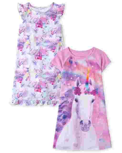 Girls Short Sleeve Unicorn Castle Nightgown 2-Pack